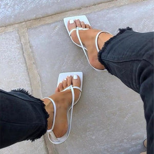 White Narrow Band Vintage Square Toe High Heels Sandals