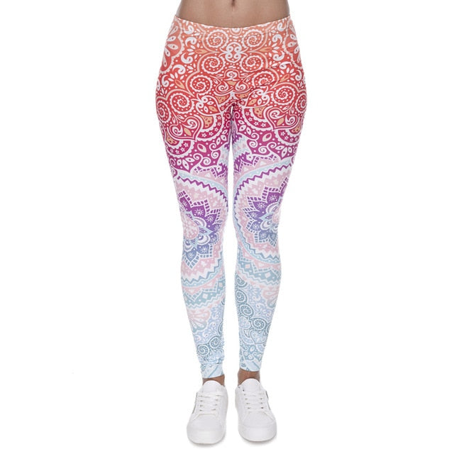 Aztec High Waist Leggings with Red, Blue, White, and Purple Print