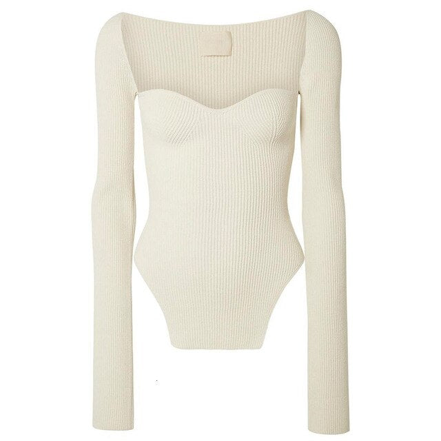 iMucci Square Collar High Waist Sweater Pullover