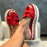 Red Thick Sole Platform Beach Sandals
