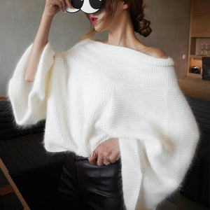 Autumn Fashion Sweater Off Shoulder with Flare Sleeve