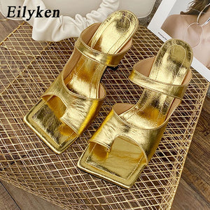 Elegant Gold Square Toe High Heels Sandal