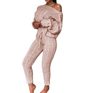 Ladies Solid Off Shoulder Cable Knitted Warm Loungewear Sweater