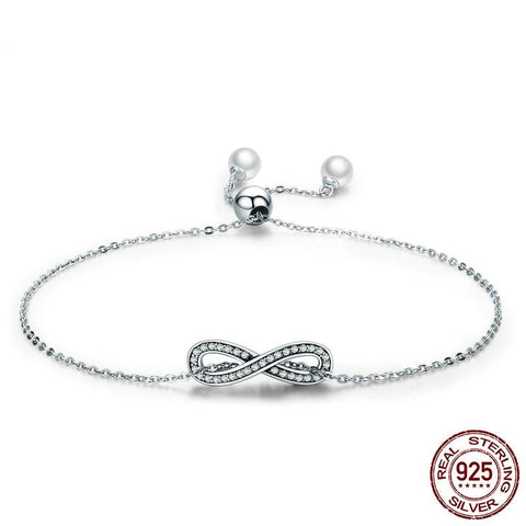 Real 100% 925 Sterling Silver Infinity Love Chain Link Women's Bracelets