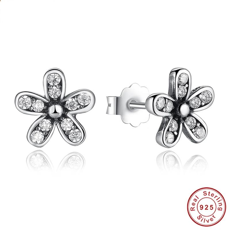 Authentic 925 Sterling Silver Dazzling Daisy Stud Earrings With Clear CZ