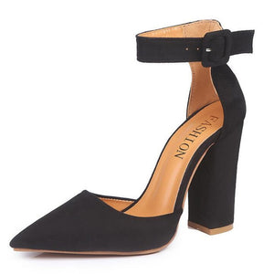 Black Square Heel Buckle Strap Pumps