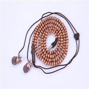 Fashion Bracelet Earphone Wooden Beads Stereo in-ear Earbuds Noise Canceling