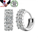 Double Row Round 925 Sterling Silver Stud Earrings