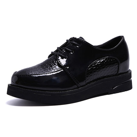 Lace-up Square Heel Oxfords for Women