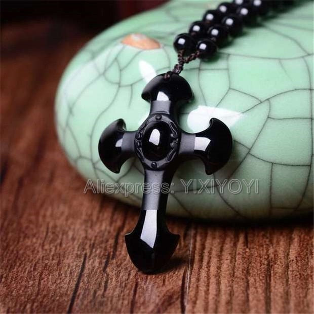 Natural Black Obsidian Carved Cross