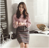Women's Winter Embroidery Sweater and Skirt Set