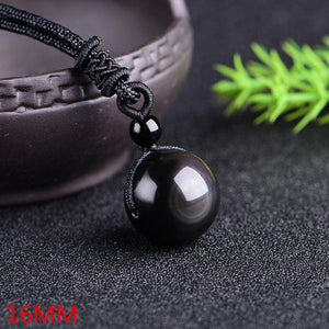 Golden Obsidian Bead Pendant Necklace