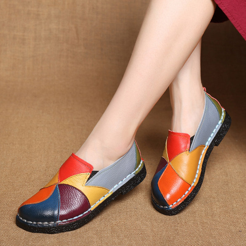Designer Women Genuine Leather Loafers Mixed Colors