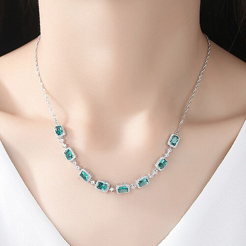 Luxury Emerald  Necklace for Women 925 Sterling Silver
