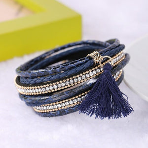 Leather Charm with Pearls Bracelets and Bangles for Women Bohemian