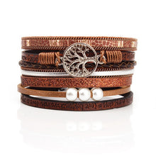 Load image into Gallery viewer, Leather Charm with Pearls Bracelets and Bangles for Women Bohemian