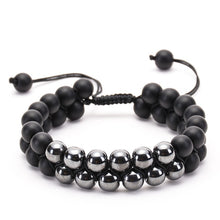 Load image into Gallery viewer, 8mm Black Matte Hematite Double Row Beaded Bracelet Adjustable
