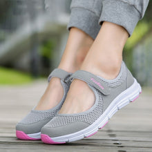 Load image into Gallery viewer, Ladies Grey and Pink Mesh Flat Sneakers