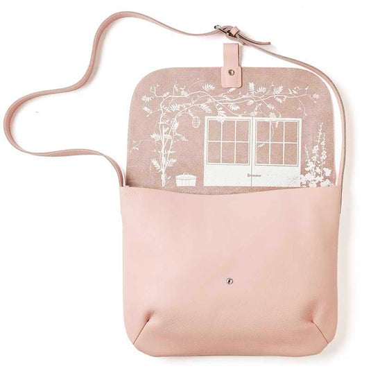 Lichtroze leren laptoptas, Back Yard, Soft Pink