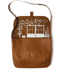 Cognac leren laptoptas, Back Yard, Cognac used look