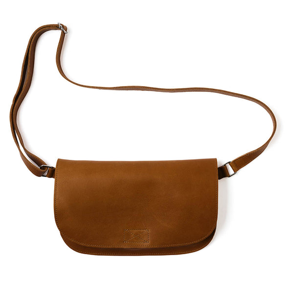 Cognac leren verstelbare crossbody tas, Lazy Boy, Cognac used look