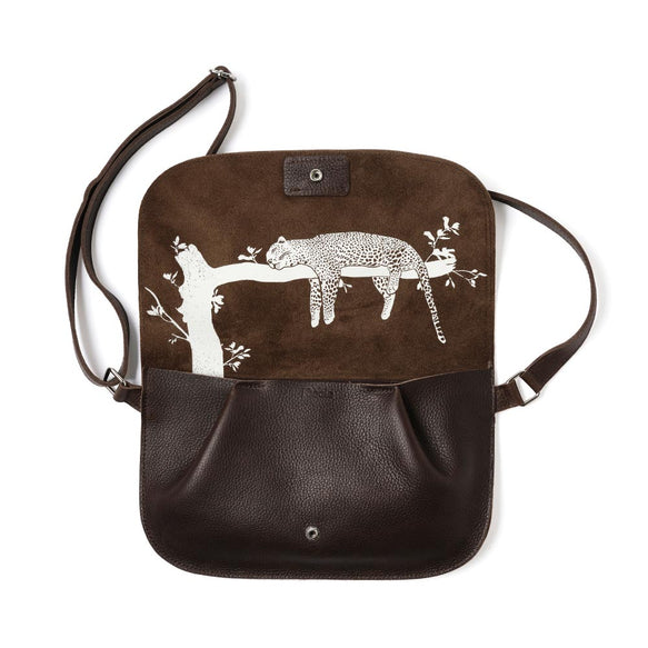 Donkerbruine leren verstelbare crossbody tas, Lazy Boy, Dark Brown used look