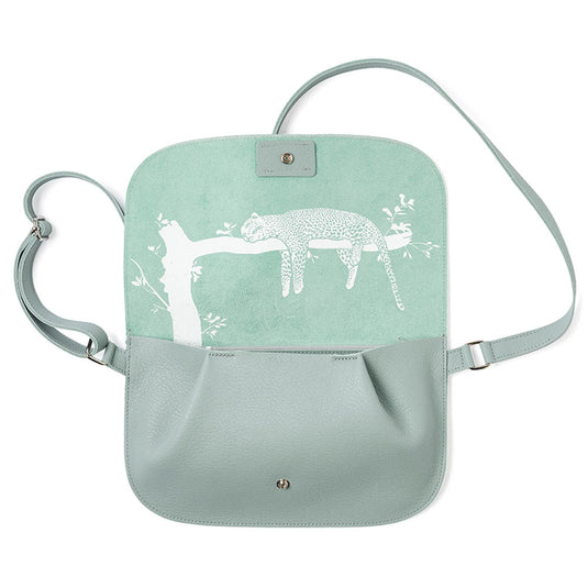 Licht mint groen leren verstelbare crossbody tas, , Lazy Boy, Dusty Green