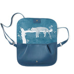 Blauwe leren verstelbare crossbody tas, Lazy Boy, Faded Blue