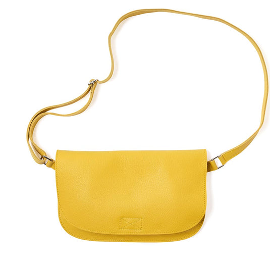Gele leren verstelbare crossbody tas, Lazy Boy, Yellow