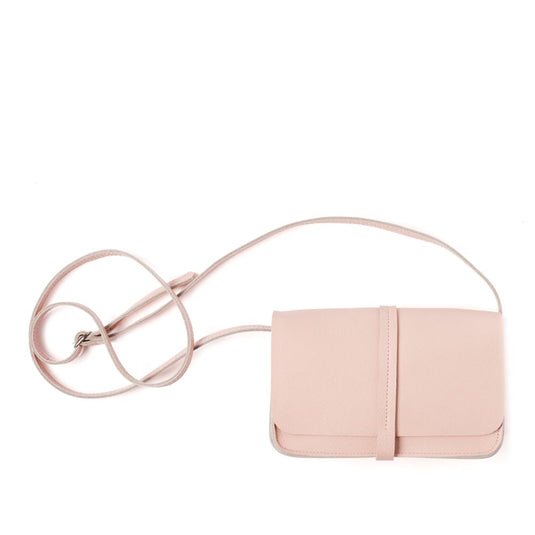 Lichtroze leren schoudertasje, Lunch Break, Soft Pink