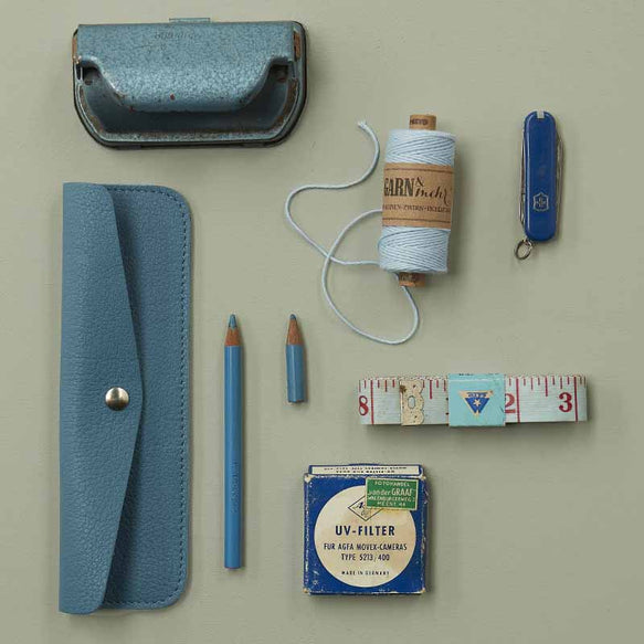 Blauwe leren etui, Pen Pal, Faded Blue