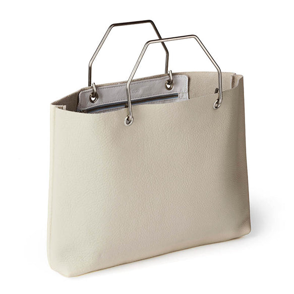 Licht beige leren shopper tas, Window Shopper, Cement