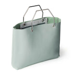 Licht mintgroene leren shopper tas, Window Shopper, Dusty Green