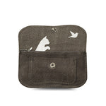 Kleine grijze leren portemonnee, Cat Chase Small, Grey Brown used look