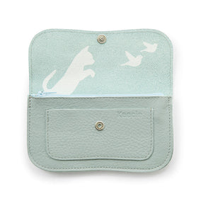 Licht mintgroene leren portemonnee, Cat Chase Medium, Dusty Green