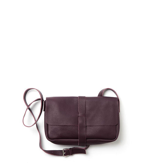 Aubergine leren schouder tas, Picking Flowers Medium, Aubergine