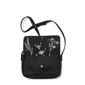 Zwarte leren schoudertas, Picking Flowers Medium, Black