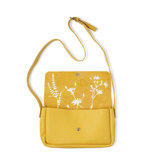 Gele leren schoudertas, Picking Flowers Medium, Yellow