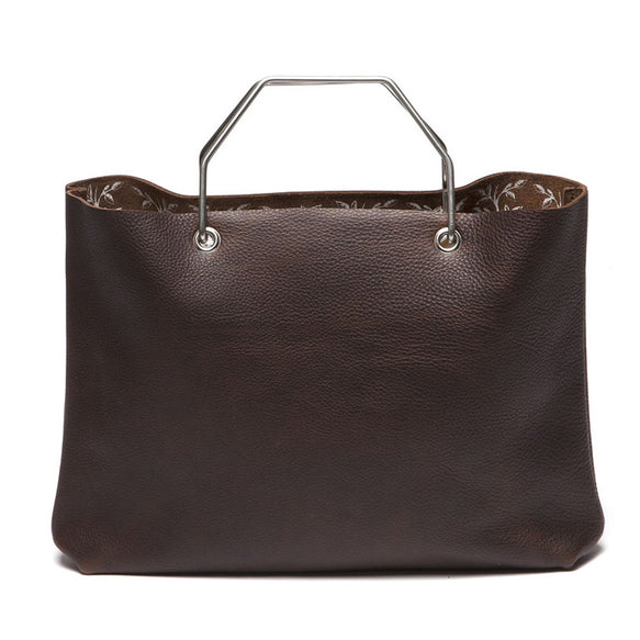 Donkerbruine leren shopper tas, Window Shopper, Dark Brown used look