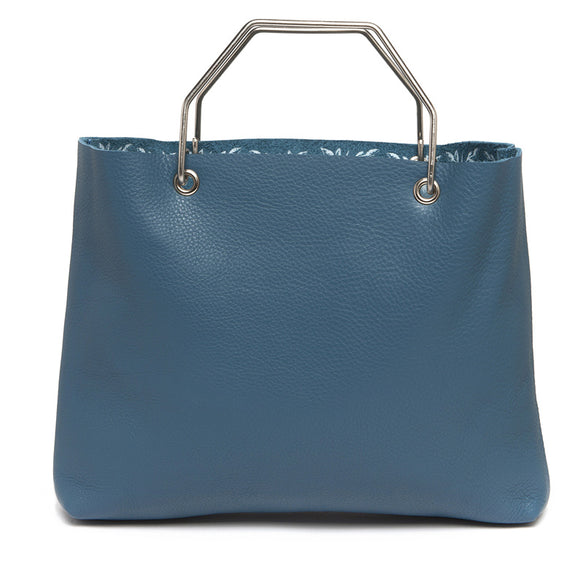 Blauwe leren shopper tas, Window Shopper, Faded Blue