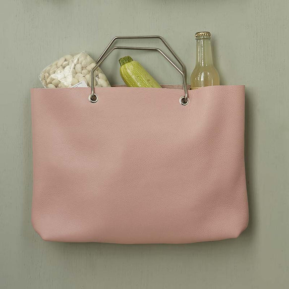 Lichtroze leren shopper tas, Window Shopper, Soft Pink