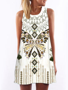 a0f413f98be Round Neck Printed Shift Dress