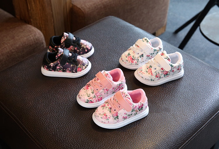 Floral Sneakers Shoes First Walkers Infant+Toddler Girl