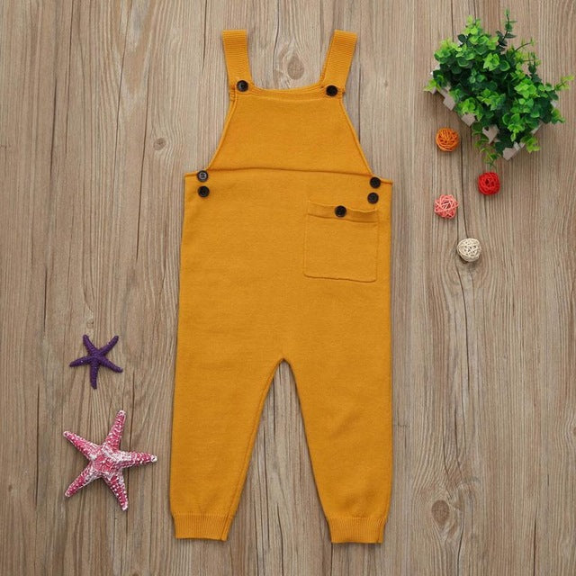 Spring Children Kids Candy Color Bib Harem Pants 1-5Yrs Boys Girls Pocket Knitted Overalls Jumpsuits Baby Clothing
