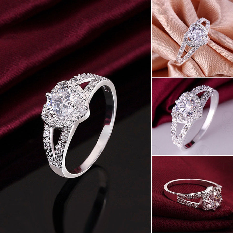 Exquisite Silver Heart-shaped Wedding Rings zircon Ring