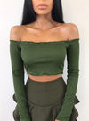 T-shirt Long Sleeve Crop Top Cotton Solid Color Short