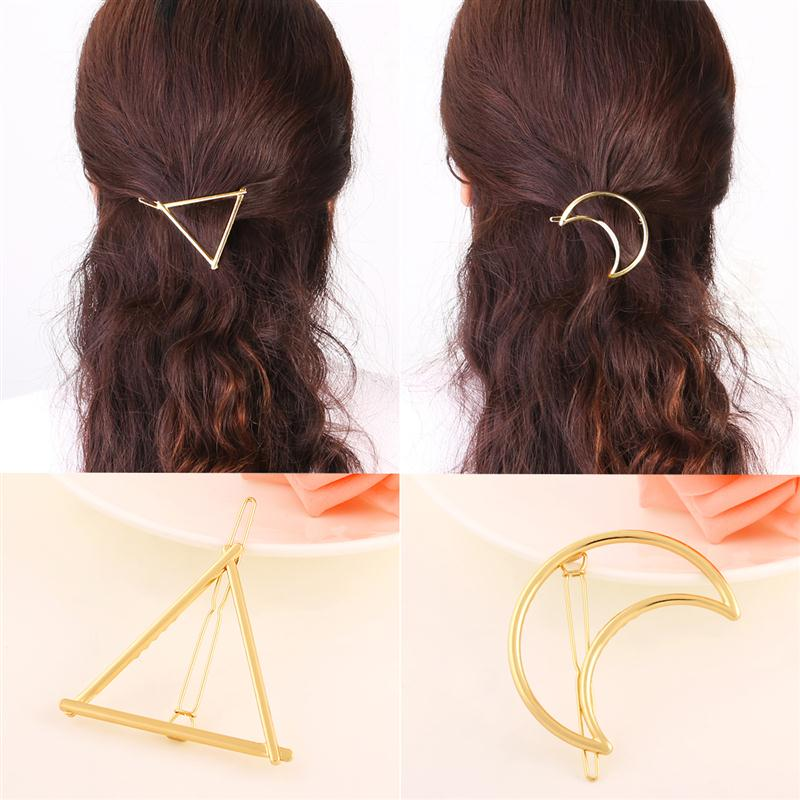 4pcs Gold Geometric Metal Hair Clips