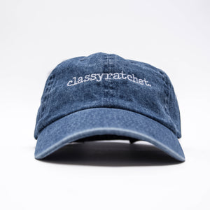 the label dad hat denim
