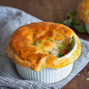 Roasted Free Range Chicken, Pea & Carrot Pot Pie topped with Crisp Golden Puff Pastry