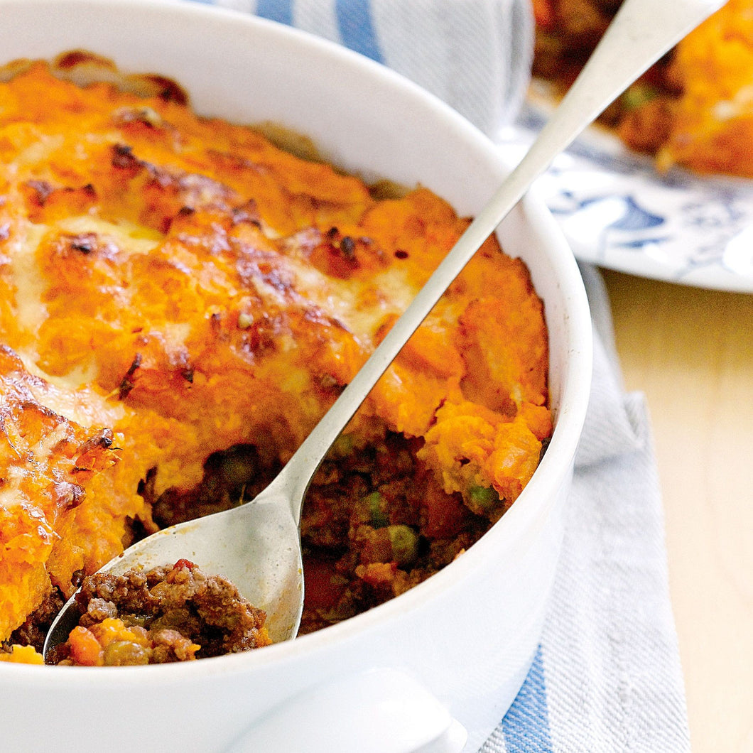 Shepherd's Pie topped with Sweet Potato & Butternut Mash